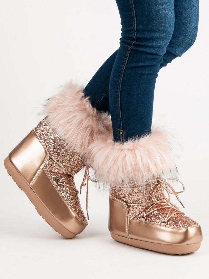 Czasnabuty sneg škornji roza barva