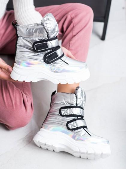 69074 - Shelovet sneg škornji siva/srebrna barva