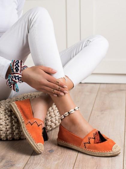 71002 - Best shoes superge, nizki čevlji oranzna barva
