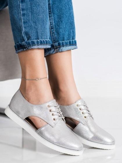 72326 - Forever folie nizki elegantni čevlji siva/srebrna barva