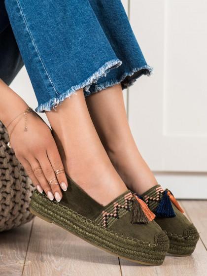 72591 - Coura nizki elegantni čevlji zelena barva