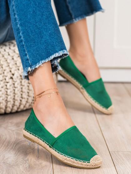 72602 - Shelovet nizki elegantni čevlji zelena barva