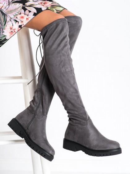 73459 - DaszyŃski visoki škornji siva/srebrna barva