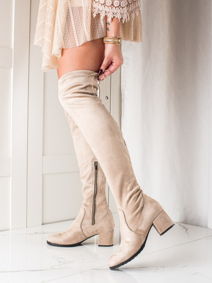 73986 - Trendi visoki škornji rjava/bez barva