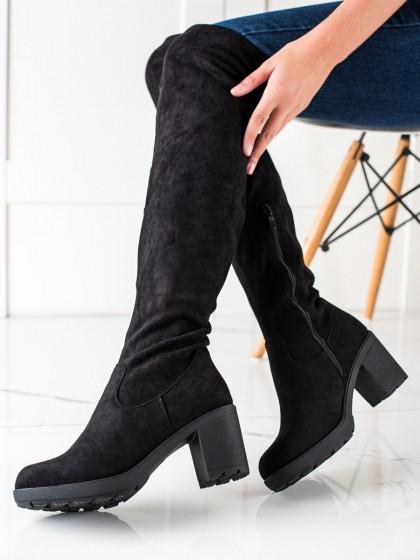 74060 - Trendi visoki škornji crna barva