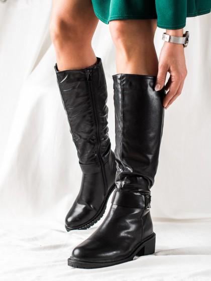74130 - Trendi visoki škornji crna barva