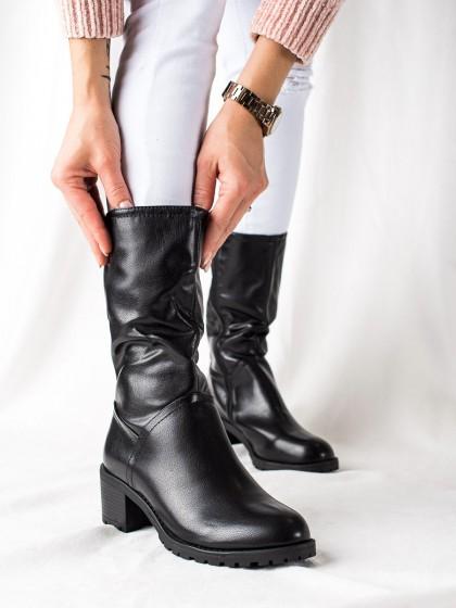 74177 - Trendi visoki škornji crna barva