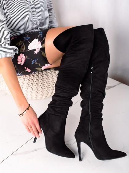 74336 - Trendi visoki škornji crna barva
