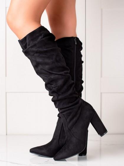 74515 - Trendi visoki škornji crna barva