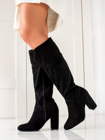 74516 - Trendi visoki škornji crna barva